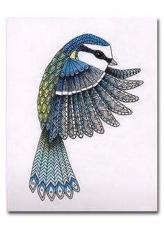 Art de Mixed Media Tit/Mésange bleue originale produite sur carton Bristol. Produites à laide dencre, pastel & crayons coloursoft derwent.