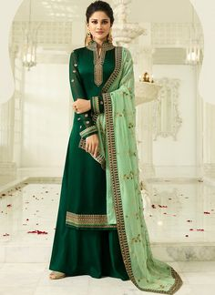 Green Chiffon Saree With Blouse 127758 Punjabi Suit For Ladies, Punjabi Suit Simple, Green Suit Women, Suits For Women, Clothes For Women, Party Wear Dresses, Party Wear Sarees, Indian Dresses, Indian Outfits