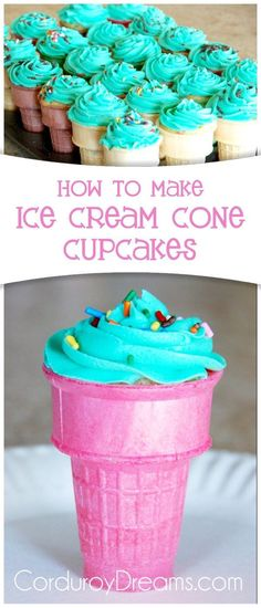 """Ever since I showed you my neice's """"Crazy Birthday Party, I've been wanting to try making cupcakes in ice cream cones. Actually, it's my kids that have been wanting… cupcakes decoration hochzeit ideas ideen recipes rezepte cupcakes cupcakes cupcakes Make Ice Cream, Ice Cream Party, How To Make Cupcakes, Making Cupcakes, Ice Cream Cupcakes, Ice Cream Cupcake Cones, Icecream Cone Cupcakes, Ice Cream Cones, Icecream Ideas"""