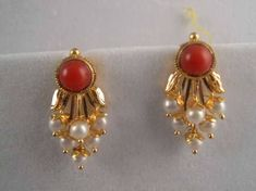 result for coral earrings indian jewelry Gold Jhumka Earrings, Jewelry Design Earrings, Gold Earrings Designs, Coral Earrings, Coral Jewelry, Ruby Jewelry, Jewelry Model, India Jewelry, Gold Jewellery Design