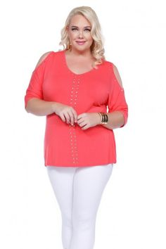 Plus size clothing by Belldini is fun, like this coral open shoulder top!