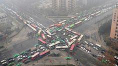 Guarimba en China para protestar por el tráfio