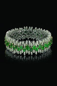 Best Diamond Bracelets : Varuna D Jani emerald and diamond bracelet - Fashion Inspire Emerald Bracelet, Emerald Jewelry, Diamond Bracelets, Bling Jewelry, Bridal Jewelry, Bangle Bracelets, Bangles, Bridal Accessories, Silver Jewellery
