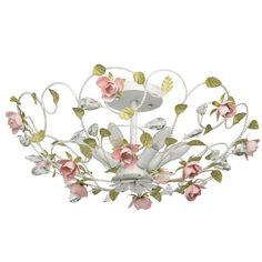 Flora Semi Flush Mount Home Loft Concept Semi Flush Lighting, Semi Flush Ceiling Lights, Ceiling Lamp, Floral Bouquets, Floral Flowers, Style Floral, Classic Lighting, Vintage Flowers, Pink And Green