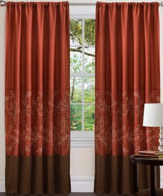 Take a look at this Wheat Brown & Red Hester Curtain Panel by Triangle Home Fashions on #zulily today!
