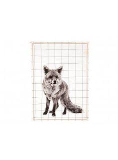 Tea towel Grid Fox w. cotton neon stitch cotton, 55 x Design. Patterned Tea Towels, Grid, Towel Animals, Gadgets, Motifs Animal, Fox Print, Neon, Red Candy, Gadget Gifts