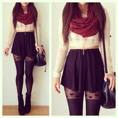 Long sleeve crop top. Black circle skirt. Oxblood circle scarf. Tights