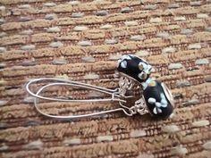 Midnight Blue floral dangle earrings black by MicheladasMusings, $5.00
