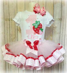 Strawberry Patch Double Ribbon Trim Tutu Outfit - Personalized and Embellished with Rhinestones on Etsy, $65.00
