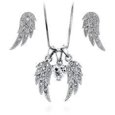 BERRICLE Silver-Tone CZ Angel Wings Fashion Necklace and Earrings Set (94 BRL) ❤ liked on Polyvore featuring jewelry, earrings, necklaces, sets, clear, women's accessories, cz jewellery, cz jewelry, cz pendant and sparkly earrings