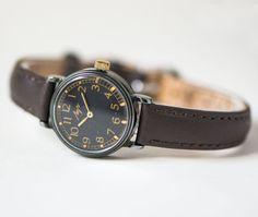 Simple women's watch Ray black wrist watch her lady's by SovietEra