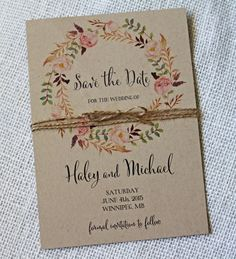 Bohemian Save the Date Watercolor Floral van LoveofCreating op Etsy