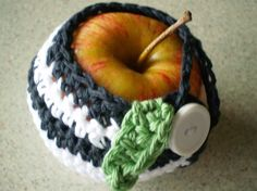 Apple Cozy/Cosy/Jacket/Sweater Hand Crocheted by NotJustCozies, $9.00  ...a sweater for fruit?