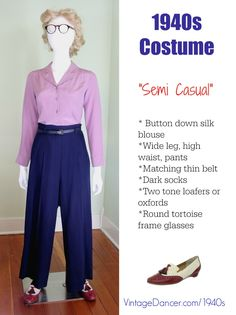 1940s costume women pants semi casual at vintagedancer com