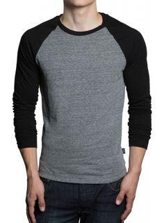 Gents Basic Long Sleeve Baseball Raglan T-Shirt - Black/Grey Mens Baseball Tee, Mens Cotton T Shirts, Trendy Outfits, Long Sleeve Shirts, Shirt Designs, Mens Fashion, How To Wear, Clothes, Grey