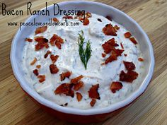 Bacon Ranch Dressing - Carbs, Less than 1 net g per 2 T. /Peace, Love, and Low Carb Low Carb Dressing, Keto Ranch Dressing Recipe, Bacon Dressing, Low Carb Sauces, Low Carb Recipes, Real Food Recipes, Keto Sauces, Healthy Recipes, Bacon Recipes