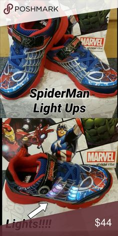 New SpiderMan Light Ups from Stride Rite💕 Just2kool! $56.99 in our store but here for a limited time just $44. 💕🕷 💕🕷 💕🕷 Stride Rite Shoes Sneakers