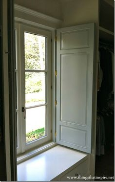 Interior shutters with deep sill casement window