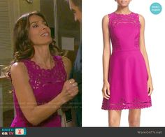 Hope's purple lace dress on Days of our Lives.  Outfit Details: https://wornontv.net/66987/ #DaysofourLives