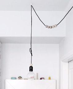 Lampara Colgante Madera Nordica Cable Textil Colores Industr - $ 475,00