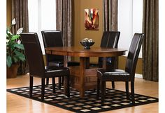 Dalton 5 Piece Oak Dining Package With Brown Chairs