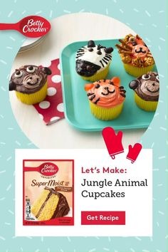 Have fun with the kids decorating these adorable cupcakes! Start with Betty Crocker Cake mix and you can bring all of their favorite zoo animals right to your kitchen! Orange Frosting, Animal Cupcakes, Cupcake Heaven, Black Food, Cookie Frosting, Baking Cups, Fancy Cakes, Betty Crocker, Food Photography