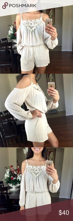 """🆕 Open Shoulder Crochet Romper New Listing! Bottom is lined. Color: Natural. ✂️Material: 100% Polyester    ❗️I DO reserve/hold items. Just ask, below, in the comment section. 👇🏽  ⚪️Use the """"Buy Now"""" or """"Add to Bundle"""" button to purchase.  ⚪️MY PRICE IS FIRM. I DO NOT TRADE. I WILL NOT ACCEPT YOUR OFFER. Please respect my business. Thank you. ❤️ Jaded Affairs Pants Jumpsuits & Rompers"""
