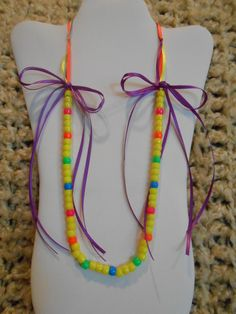 Girls Ribbon and Bead Necklace with Bows yellow purple orange blue green pink neon by IsabellaWesley, $9.99