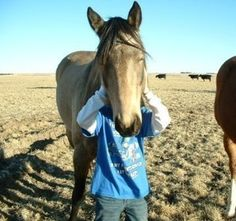 """Why the long face?  Bonnie Stasser says In Honor Of (a.k.a. """"Honey"""") is """"truly one of the sweetest mares we could ever hope for! She just loves everyone and when she has a job to do she knows how to get it done!"""" Here, one of the kids strikes a funny pose with Honey"""
