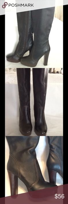 "Colin Stuart dark brown knee high platform boot Featured is a pair of new Colin Stuart dark brown knee high platform boots NWOB.these boots have a 4.5"" heel . Beautiful pair of boots size 5 1/2 B Colin Stuart Shoes Heeled Boots"