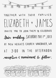 cute CUSTOM Rustic Hand Lettered Wedding Invitation by gabrijoystudios, $18.00