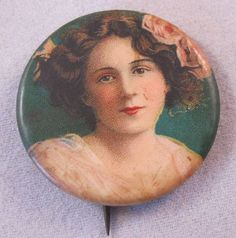 1900s Antique Lady Button Pin Pinback SALE by BrightEyesTreasures, $19.99
