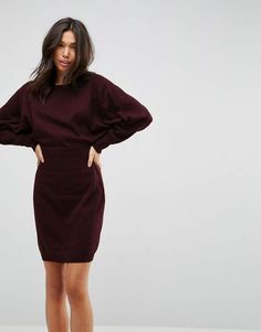 ASOS Knitted Mini Dress with Batwing Sleeve