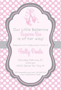 Gray And Pink Ballerina Baby Shower Invitation