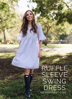 DIY Ruffle sleeve swing dress ||  merricksart.com