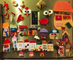 magnet, keçe magnet, keçe, felt, feltro, keçe ev magnet Felt Crafts Diy, Felt Diy, Crafts To Do, Home Crafts, Felt Magnet, Felt House, Christmas Window Decorations, Easy Christmas Crafts, Sewing Dolls