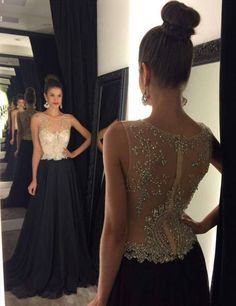 Black round neck chiffon sequin long prom dress,evening dress