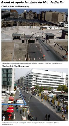 Construction work at the Berlin Wall on Aug. 1985 on Friedrichstrasse near checkpoint Charlie and Friedrichstrasse Oct. 2014 - 25 years after the fall of the wall. East Germany, Berlin Germany, Germany Area, Berlin Berlin, Berlin Hauptstadt, German Wall, Potsdam Germany, Rda, Checkpoint Charlie