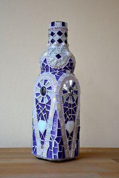 Purple glass mosaic bottle, holds one liter, by Laura Leon Mosaics, via Flickr