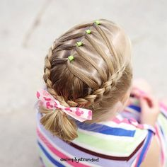 Today we did a style inspired by @hair4myprincess She posted this style as a flashback a few days ago, and we thought it was so cute! #kidhair #kidhairstyles #toddlerhair #dutchbraid #dutchbraids