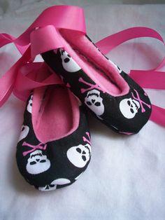 baby skull ballet slippers (cute but I'd like hearts better than skulls)