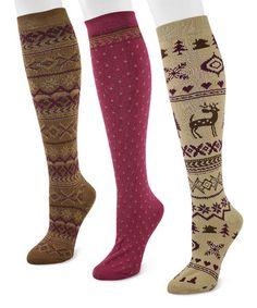 Love this Raspberry Scandinavian Knee-High Socks Set on #zulily! #zulilyfinds