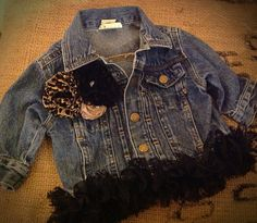 Girl's Denim Jacket with Vintage Lace, Leopard Print Flowers and a Rolled Satin Flower