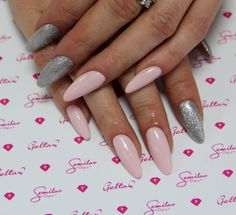 032, 144 #semilac #nails #pink #lightpink #pastel #silver #sparkling