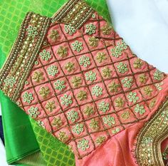 A combination that I'm in love with Indian Blouse Designs, Pattu Saree Blouse Designs, Fancy Blouse Designs, Bridal Blouse Designs, Stone Work Blouse, Hand Work Design, Maggam Work Designs, Sari Design, Sleeve Designs