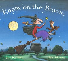 Room on the Broom Board Book by Julia Donaldson A wonderful rhyming tale from the team behind the Gruffalo books. Halloween Books For Kids, Fall Halloween, Halloween Season, Happy Halloween, Halloween Stories, Halloween Activities, Funny Halloween, Halloween Crafts, Room On The Broom