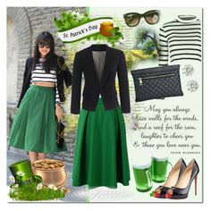 """""""Oh Ireland"""" by justlovedesign ❤ liked on Polyvore featuring WALL, Boohoo, Kenneth Jay Lane, Thierry Lasry, J.Crew, ASOS, Christian Louboutin, Ireland and SaintPatrick"""