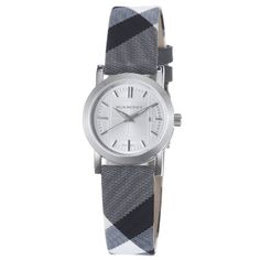 Burberry Women's BU1386 Check Engraved Silver Dial Fabric Check Strap Watch Burberry. $303.94. •Quartz movement•Stainless steel case•Silver dial•Black calfskin strap•Water-resistant to 50 m (165 feet)