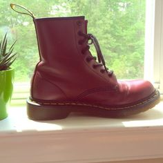Dr. Martens Cherry red Dr. Martens- great condition! A few scuffs/ scratches... Nothing major! :) Dr. Martens Shoes Combat & Moto Boots