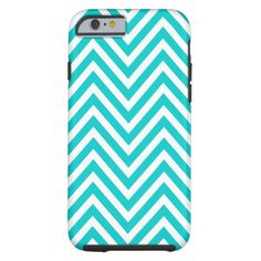 FUN TEAL BLUE CHEVRON PATTERN iPhone 6 CASE